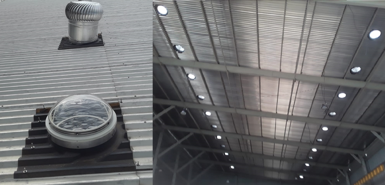 SafeLux500PLUS roof level tubular daylighting system_Outside _ Inside View